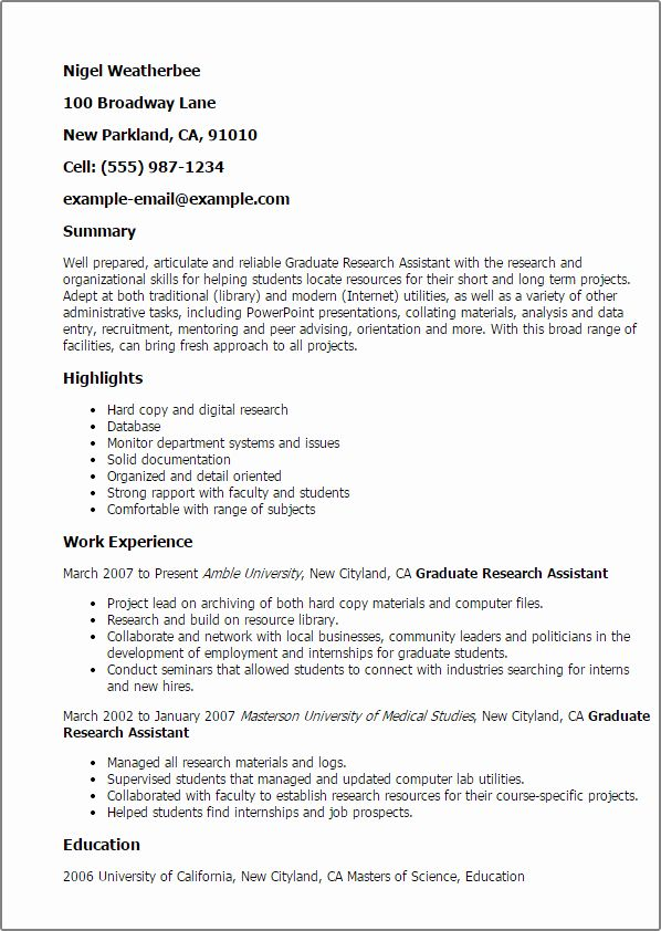 Research Assistant Resume Examples Unique Professional Graduate Research Assistant Templates To In 2020 Job Resume Samples Research Assistant Resume Examples
