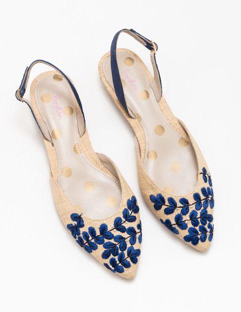Chaussures à Bride Arrière Brodées Caterina (Naturel)