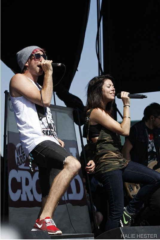 Alex gaskarth and Taylor jardine at the warped tour 2012