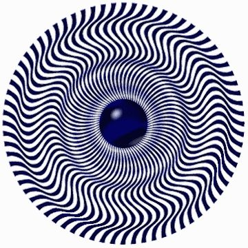 Look at this illusion for a while and it will  appear to be shimmering and moving.    Also: Follow the outermost groove and watch it  change from a groove to a hump as you go around the wheel.