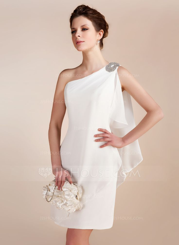 Sheath/Column One-Shoulder Short/Mini Chiffon Wedding Dress With Beading Cascading Ruffles (002011748) - JJsHouse