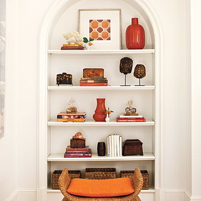 17 best ideas about shelf arrangement on pinterest wall - Decorating shelves in living room ...