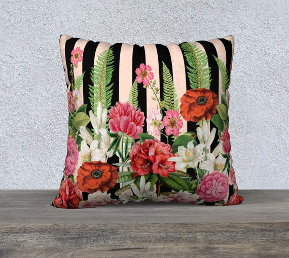 Beautiful Large French Style Pink & Black Stripe with by nantulov
