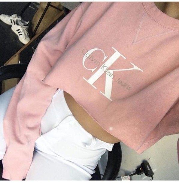 sweater pink pastel blush pink calvin klein cropped sweater