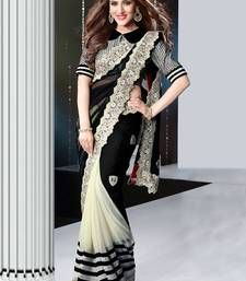 Buy black and whit embroidered georgette saree with blouse party-wear-saree online