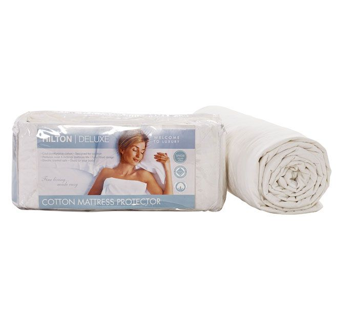 Cotton Fitted HILTON DELUXE  Features: Cotton outer and fill Designed for comfort Reduces wear and extends mattress life Fully-fitted design Electric blanket safe Good for your body Warm gentle machine wash Line dry is recommended Do not wash hot, bleach or use harsh detergents - #protectors