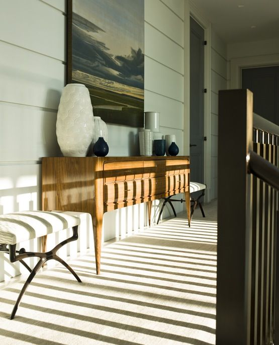 Ocean Modernist  Hallway  Staircase by Steven Gambrel
