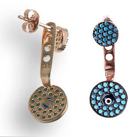 Rose Gold Plated Silver Earrings With Turquoise Cubic Zirconia Eye