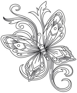 Elegant line work creates an ethereal butterfly, sure to brighten any project it's stitched on! Downloads as a PDF. Use pattern transfer paper to trace design for hand-stitching.
