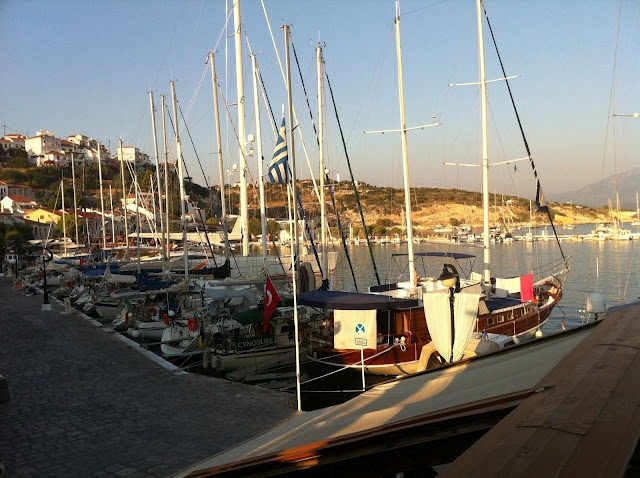 Overlooking the port of Pythagorion from Corner Bar