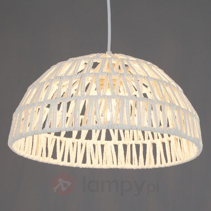 Biała lampa wisząca RANIA z plecionką ze sznurka bezpieczne & wygodne zakupy w sklepie internetowym Lampy.pl.