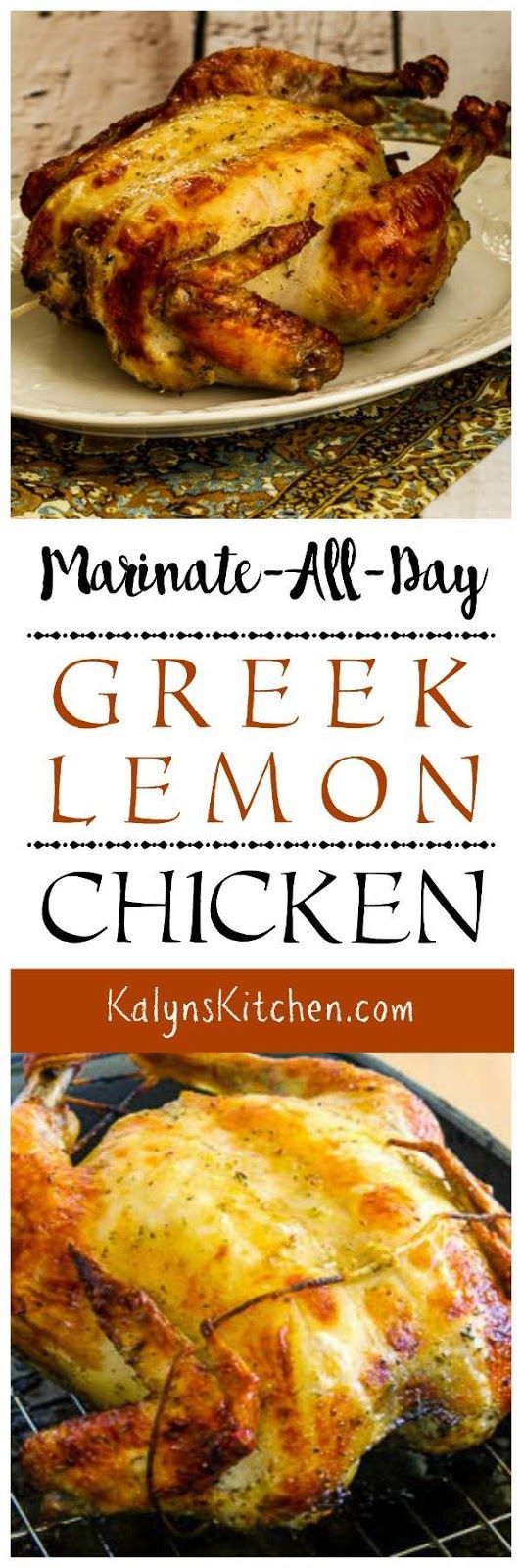 Marinate-All-Day Greek Lemon Chicken is great for a family-friendly low-carb meal. Put the chicken in the fridge to marinate when you go to work, then just roast it and make a side dish when you get home. This recipe is also gluten-free, dairy-free, Keto, Whole 30, and Paleo! found on KalynsKitchen.com