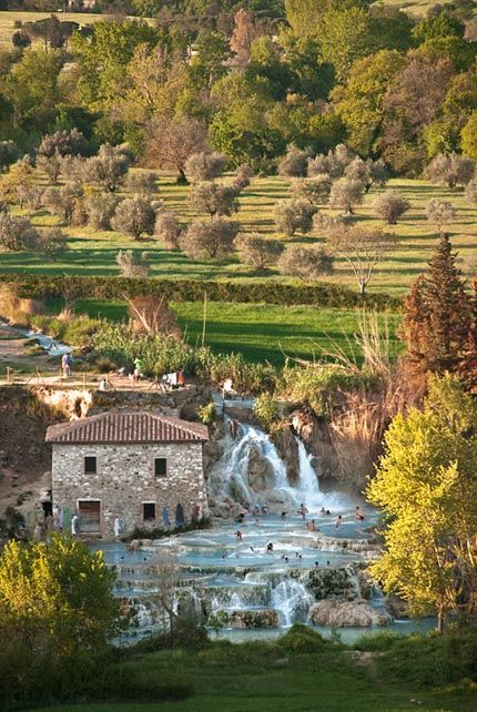Terme di Saturnia springs and thermal waterfalls in the municipality of Manciano, near Saturnia, Tuscany, Italy.