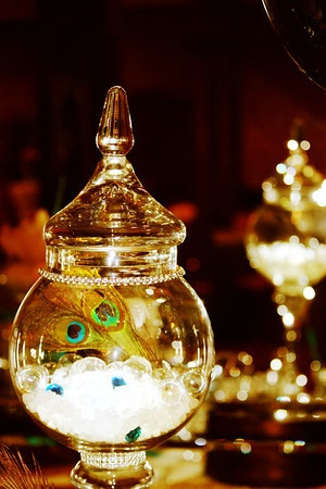 peacock, candy jars, feathers