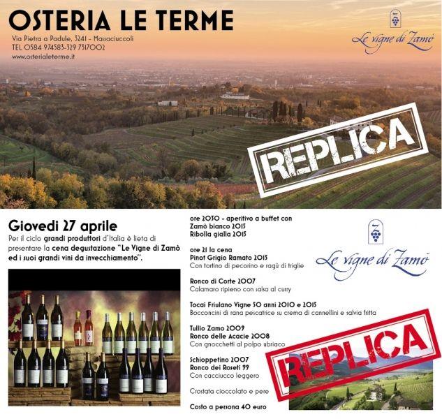 Prima Serata Le Vigne di Zamò e i suoi grandi vini da Ristorante Pizzeria Enoteca Osteria Le Terme a Massaciuccoli