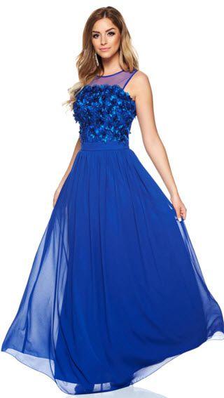rochii de ocazie albastre cu aplicatii florale