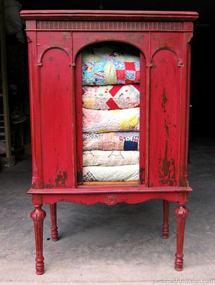 Miss Mustard Seeds Tricycle Red Furniture Project Petticoat Junktion Vintage Radio Cabinet for quilt display