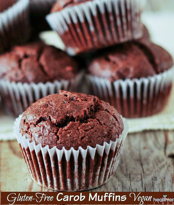 Taste the natural goodness of these Gluten-Free Vegan Carob Muffins. They are indulgent and sweetened with coconut sugar and learn about carob vs cacao.