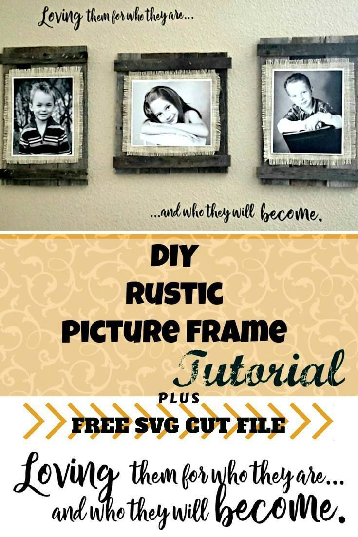 8e11e9f4416f Easy and cheap upcycled DIY frames. Make these cute farmhouse frames out of  old fence boards and burlap. Plus FREE cut file!
