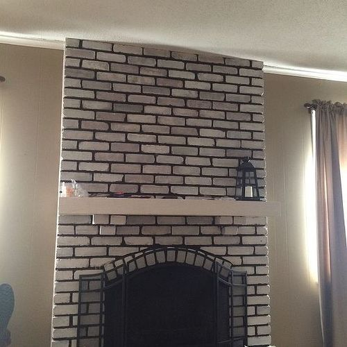 Help design my white washed brick fireplace mantle