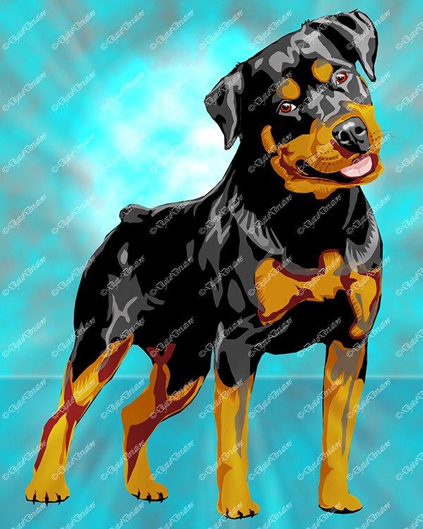 Love the grey shine on this one...Rottweiler Print Vector Style Art 8X10 Digital Art. $45.00, via Etsy.