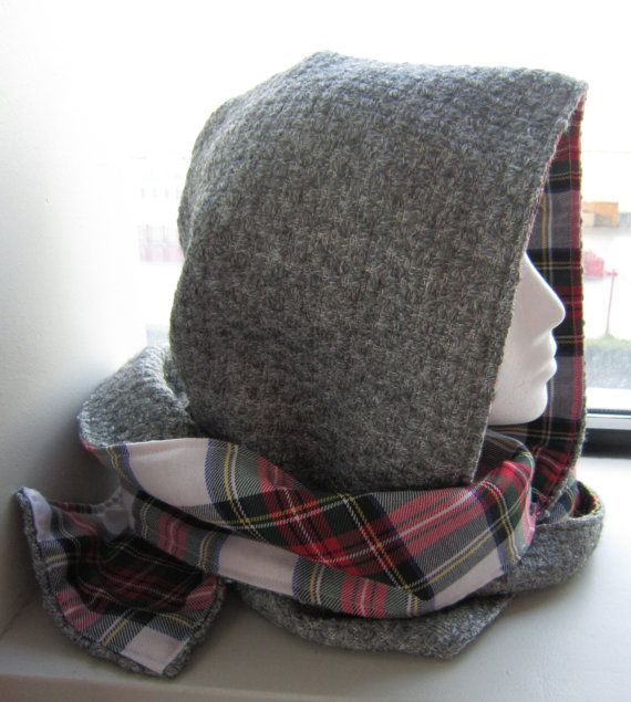 Grey Wool Blend Hooded Scarf With Black Flannel by EarthyEcoStyle, $45.00