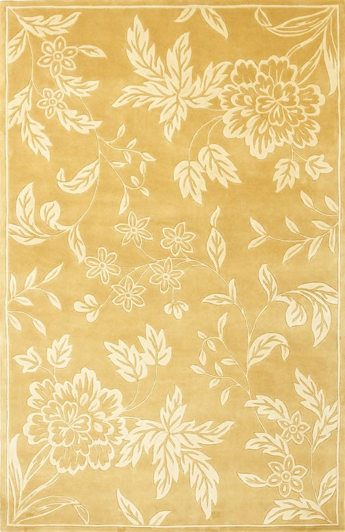 Chateau Collection Gold And Ivory Tropica Floral Wool Rug