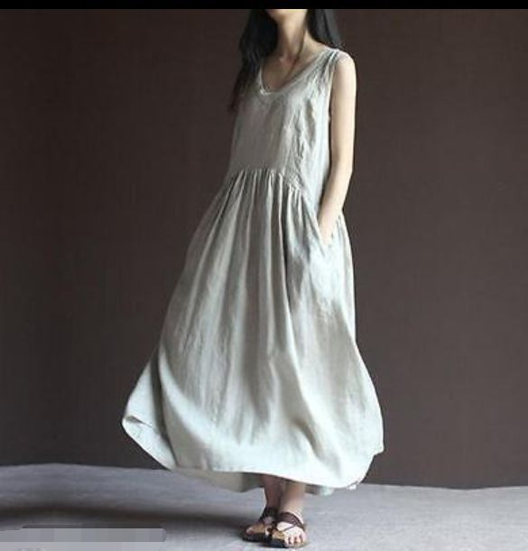 Chic Womens Summer Linen Cotton Loose Maxi Dress Long Flax Dresses White Ivory