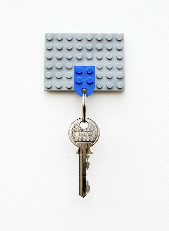 DIY Lego Key Holder: Lego part number 3176 already has a convenient hole.