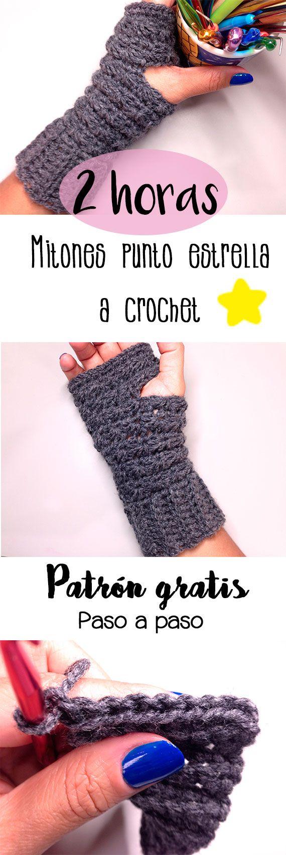 Tutorial paso a paso para tejer en tan sólo 2 horas estos hermosos y abrigadores mitones en punto estrella a crochet.