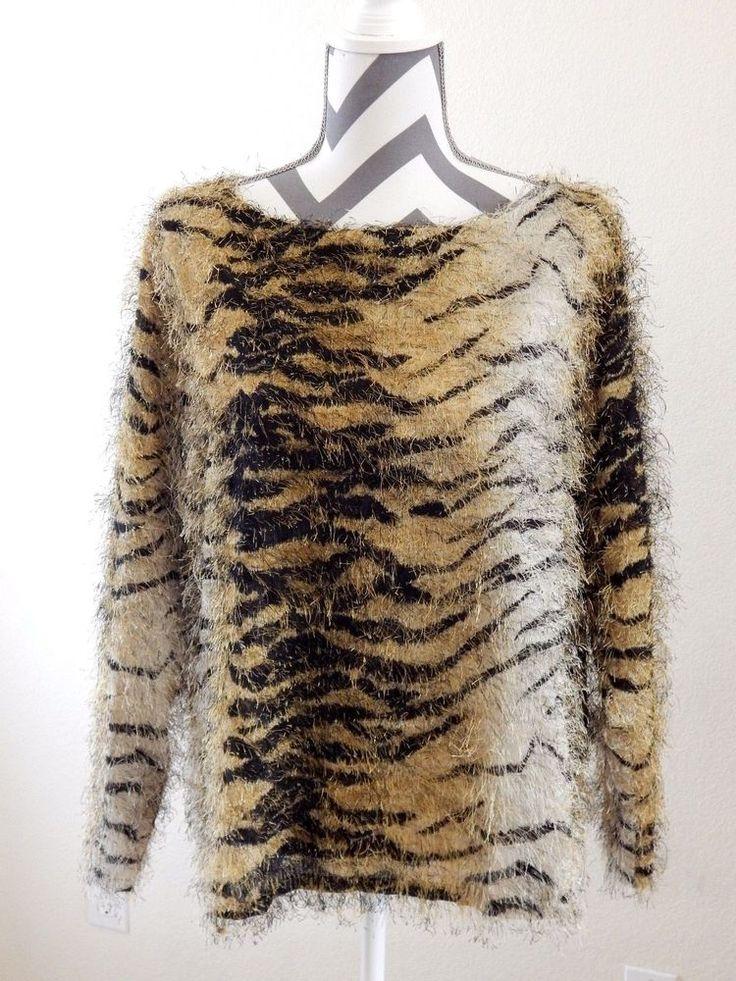 Fuzzy Tiger Print Top Size 1x Plus Vue Point Brand Shirt Sheer Long Sleeve  #VuePoint #SheerTop