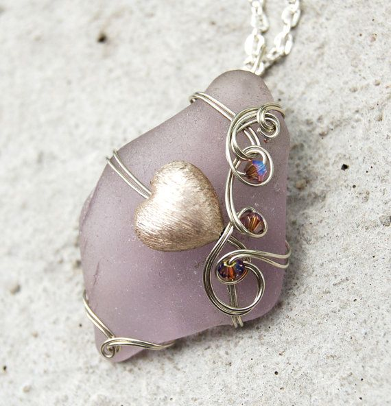 Lavender Sea Glass Necklace Wire Wrapped Beach Glass