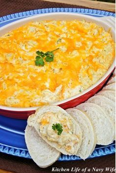 Warm Crab Dip...cream cheese, sour cream, lemon juice, Worcestershire sauce, parsley, mustard and Old Bay combined with cheddar cheese, mozzarella cheese and lump crab, topped with cheese and parsley and baked