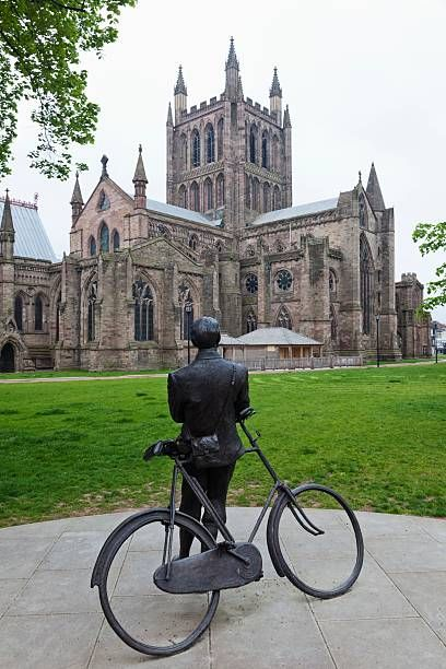 Herefordshire,Hereford,Edward Elgar Statue and Hereford Cathedral