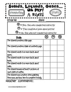 This is another form of assessment other than a boring test. I could have the students create a book about matter and use this rubric!