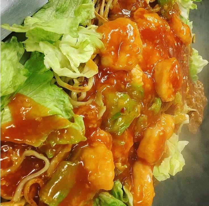 鉄板焼中華料理 #エビチリ焼きそば #food f