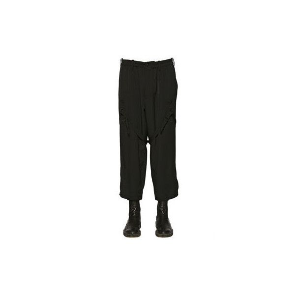 Yohji Yamamoto Belted Wool Gabardine Pants (65.815 RUB) ❤ liked on Polyvore featuring men's fashion, men's clothing, men's pants, mens base layer pants, mens stretch waist pants, mens wool pants, mens elastic waist pants and mens drop crotch pants