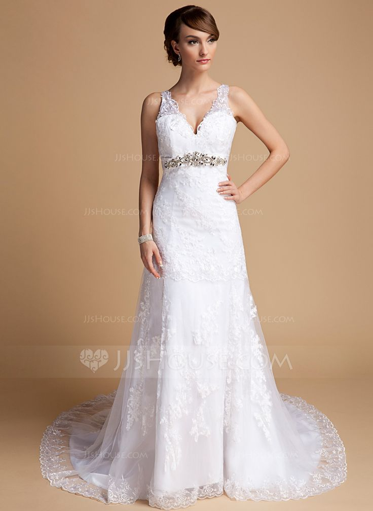 A-Line/Princess V-neck Chapel Train Satin Tulle Wedding Dress With Lace Beading (002014709) - JJsHouse