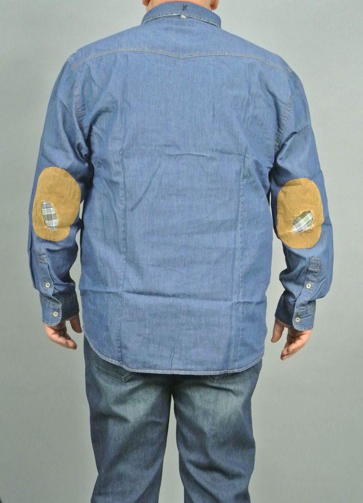 Max Fort Camicia Di Jeans Uomo Taglie Grandi Con Toppe Sui Gomiti Di VelutoE Tessuto Tessuto Jeans Prodotto Da Maxfort  - Euro 44.9