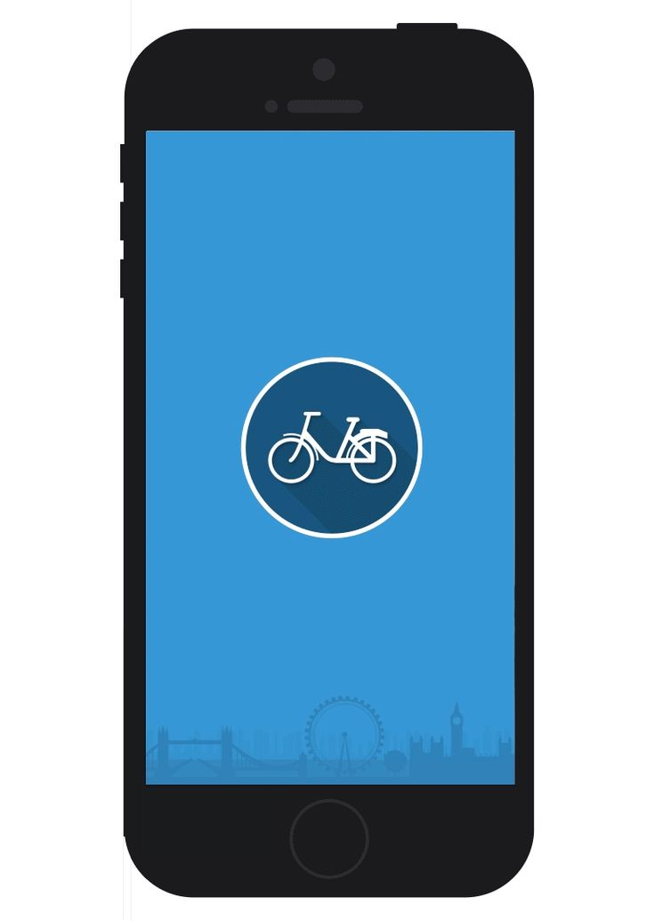 An animation showing the london by bike splash screen fading into the main screen of the app. The main screen icons transition into the screen in a circular motion and reveal the app's four main options: info, plan, nearby and timer.