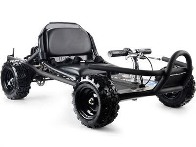 Introducing the MotoTec Sandman 49cc Go Kart! Great for on-road/off-road riding. Built tough with front and rear bumpers, 9 inch ground clearance and direct chain drive for higher top speeds. Comes st