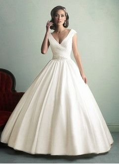 Ball-Gown V-neck Chapel Train Satin Wedding Dress With Ruffle Beading