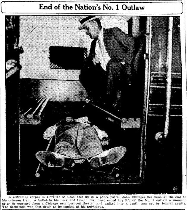 Notorious gangster John Dillinger killed in Chicago (1934