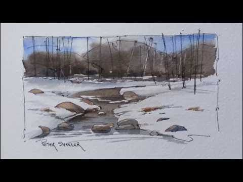 A Winter Stream in Line and Wash watercolor by Peter Sheeler. Great for beginners to follow - YouTube