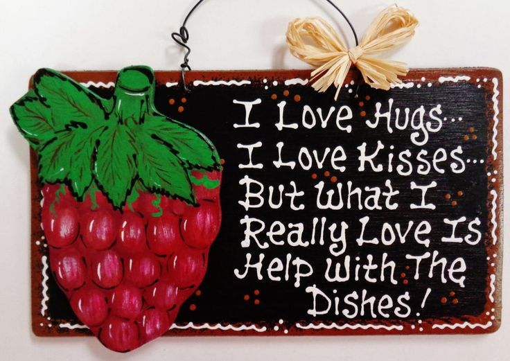 Black Sign GRAPES Hugs~Kisses~Dishes KITCHEN Wall Decor Style Wood Fruit  Tuscan #