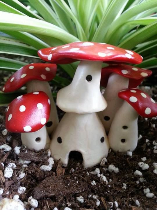 Miniature Polymer Clay Mushroom Castle For Fairy Garden Made Out Of Polymer  Clayu2026