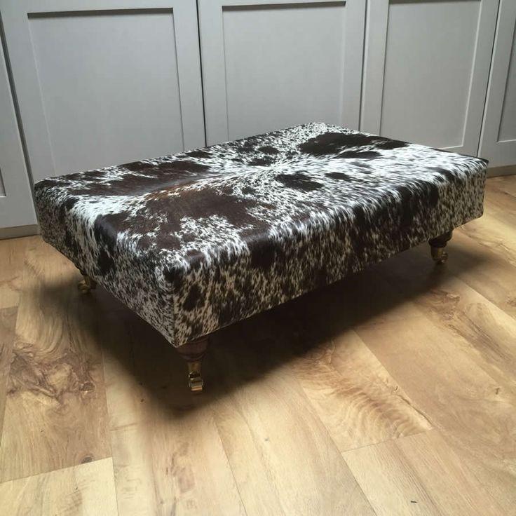 Glossy Genuine Cowhide Footstool