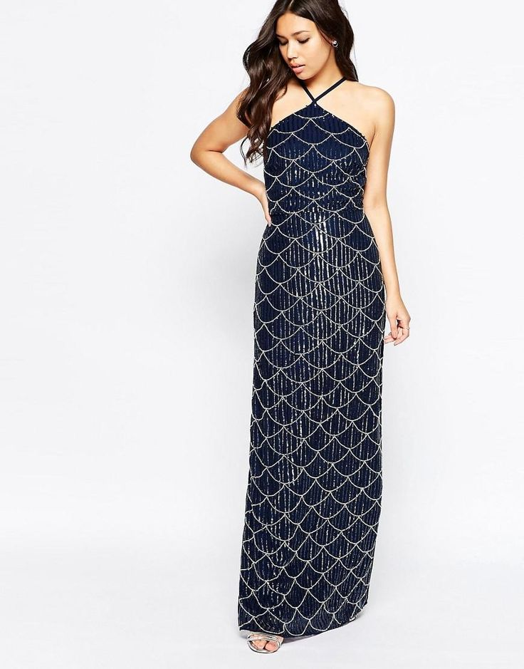 Maya | Maya Halter Neck Embellished Maxi Dress at ASOS