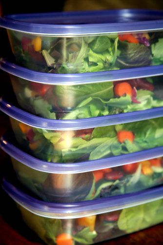 Here's an example of what to buy for five days of salads:  Large container of greens 2 cucumbers 2 to 3 bell peppers 5 medium carrots 1 package cherry tomatoes 1 bag grapes 2 packages tofu 1 can chickpeas Sunflower seeds 2 avocados Bottle of your favorite salad dressing