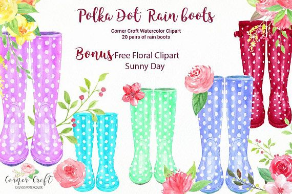 Watercolor Collection Polka Dot Rain Boots, Polka Dot Wellington Boots, Garden Boots, Rubber Boots, plus Free Clipart Sunny Day This collection includes 20 pairs of polka dot rain boots in color variations of red, blue, pink, purple, black, yellow and green. There are 3 watercolor